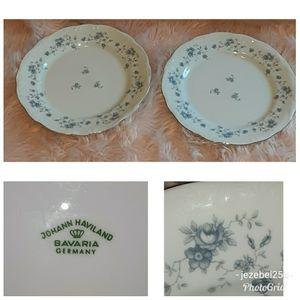 2 Johann Haviland Blue Garland Dinner Plates